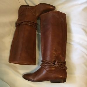 Riding boots brown tall point toe size 6